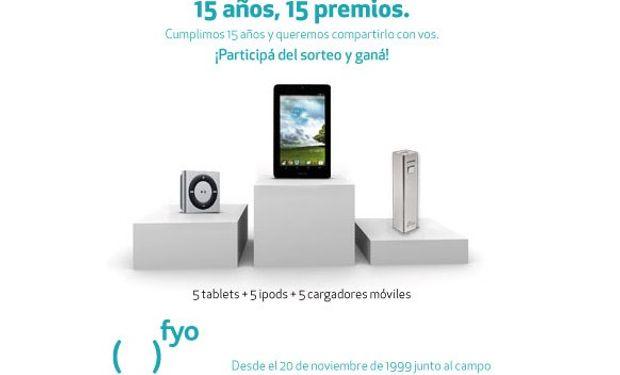 Los quince premios sorteados son: cinco tablets, cinco Ipods y cinco cargadores portátiles
