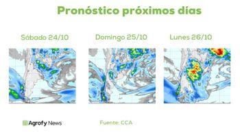 Lluvias: el pronóstico del tiempo anticipa buenos acumulados para los próximos días