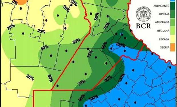 Agua util pradera al 6/11/14. Fuente: BCR