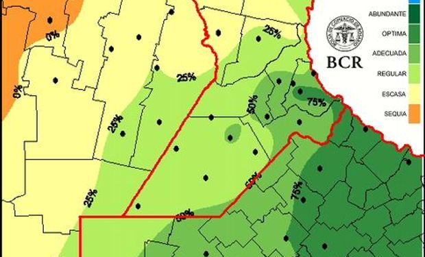 Agua útil pradera al 25/9/14. Fuente: BCR