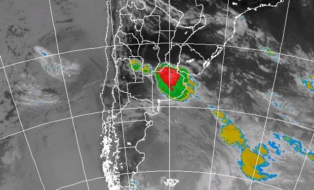 La zona de cobertura es la provincia de Buenos Aires, Córdoba, Entre Ríos, San Luis, Sur de Santa Fe y Río de La Plata. Imagen Satelital: SMN