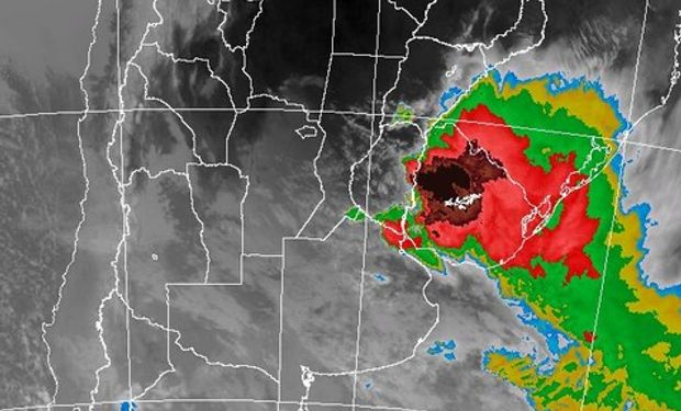 Imagen Satelital del SMN. Topes Nubosos Sector Centro