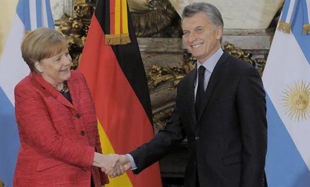 La canciller alemana, Angela Markel, y el presidente Mauricio Macri, hoy, en Casa Rosada.
