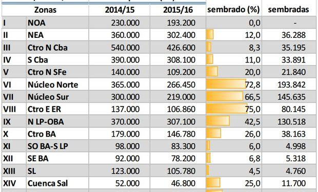 Siembra de maíz. Datos al: 15/10/2015. Fuente: BCBA.