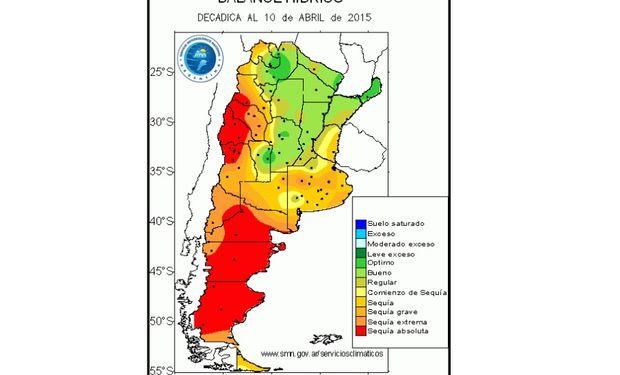 Balance hídrico en las distintas regiones del país. Fuente: BCBA.