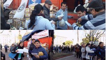 Productores regalaron 30 mil kilos de banana en contra de las importaciones