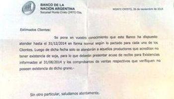Ultimátum del Banco Nación a los productores que retienen soja