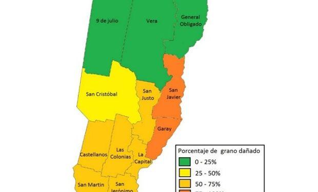 Porcentaje de grano dañado en la producción de soja. Centro-norte de Santa Fe – Campaña 2015/16