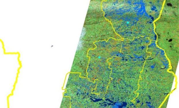 El sur cordobés presenta la mayor superficie anegada, de acuerdo a la imagen satelital. Fuente: La Nación.