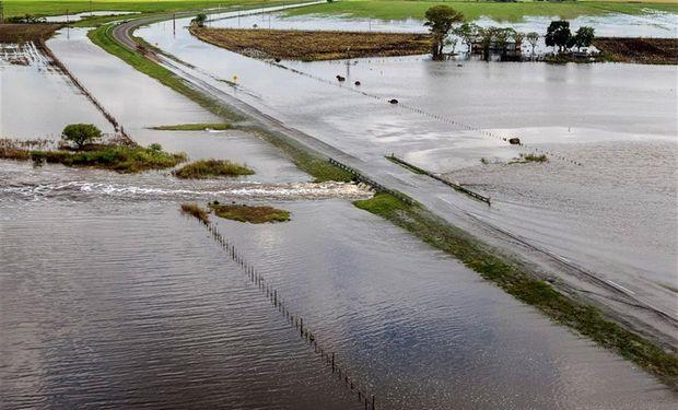 En San Justo, provincia de Santa Fe,el agua anegó campos y rutas. Foto: DyN