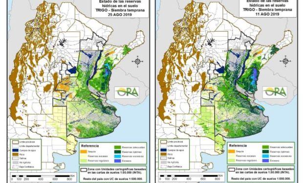 Los mapas corresponden a la estimación de contenido de agua en el primer metro de suelo para trigo de siembra temprana.