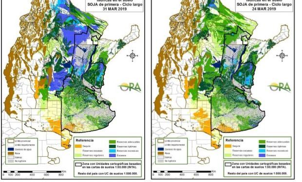 Los mapas corresponden a la estimación de contenido de agua en el primer metro de suelo para lotes de SOJA DE PRIMERA