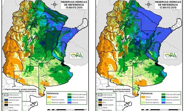 Reservas de humedad al 19 y 12 de mayo respectivamente.