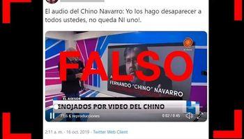 """Es falso que en un audio el """"Chino"""" Navarro amenazó a productores agropecuarios y los trató de """"zánganos"""""""