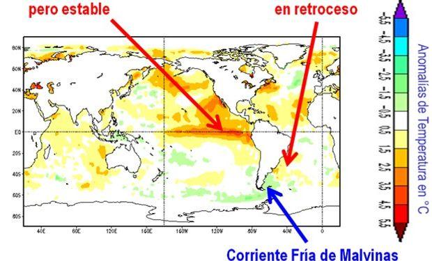 Temperatura del mar a comienzos de octubre de 2015 (Fuente CMN/NOAA)