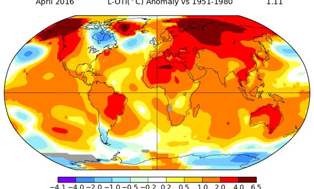 El mapa térmico elaborado por la NASA para abril. Foto: NASA