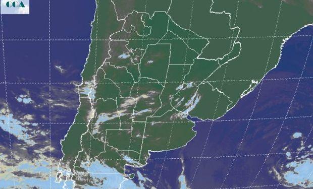 En la imagen satelital, sólo aparecen los rastros del intenso ciclón que dominó el este de BA durante las últimas jornadas.