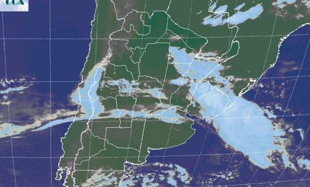 La imagen satelital presenta cielos cubiertos en gran parte de la zona núcleo. No se reportan precipitaciones en la zona.