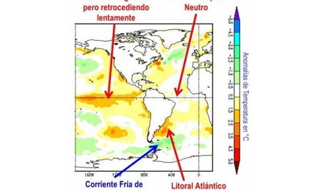 Anomalías de temperatura del mar a fines de febrero de 2016 (Fuente: CMB/NOAA)