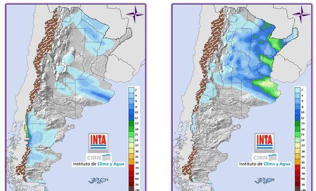 Pronóstico de precipitaciones. Fuente: INTA