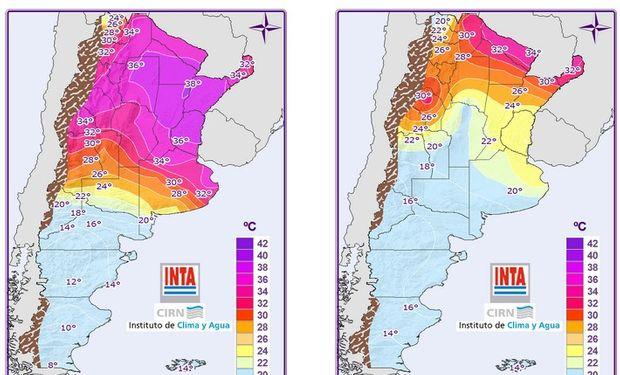 Mapa de temperaturas mínimas.