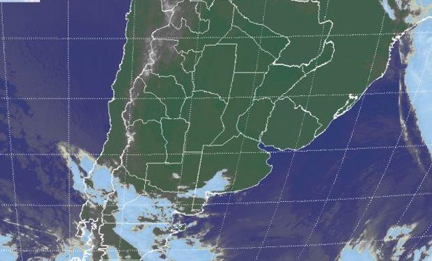La foto satelital muestra gran parte de la zona agrícola principal de Sudamérica dominada por cielos despejados.