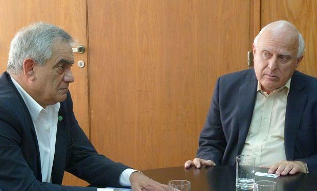 Presidente de Coninagro, Carlos Iannizzotto y el gobernador de Santa Fe, Miguel Lifschitz.