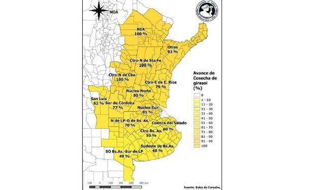Avance de la cosecha de girasol por provincia. Datos al 19/03/2015. Fuente: PAS.