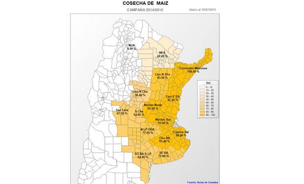 Cosecha de maíz por provincia. Fuente: BCBA.