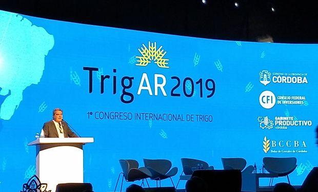 Segio Busso, del ministerio de Agricultura de la provincia de Córdoba, durante la apertura del Congreso Trigar 2019.