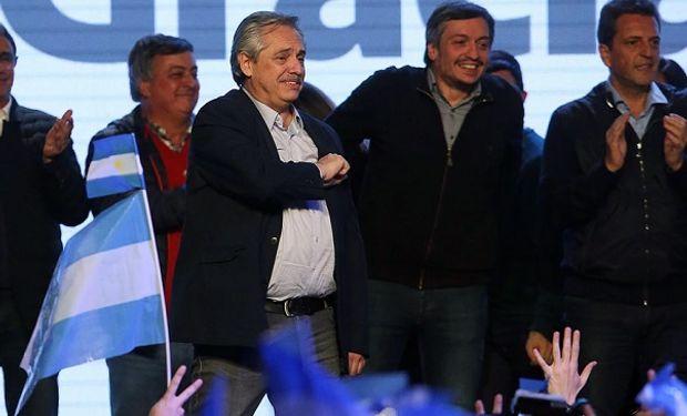 Alberto Fernández en la sede de Frente de Todos. Fuente: Infobae.