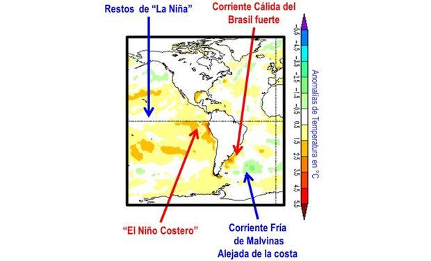 Anomalías de temperatura del mar a comienzos de abril de 2017 (Fuente: CMB/NOAA)