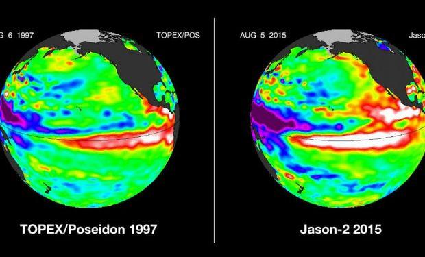 Cálidas. Comparación de la temperatura del océano Pacífico entre 1997 (izquierda) y 2015 (derecha) (Nasa).