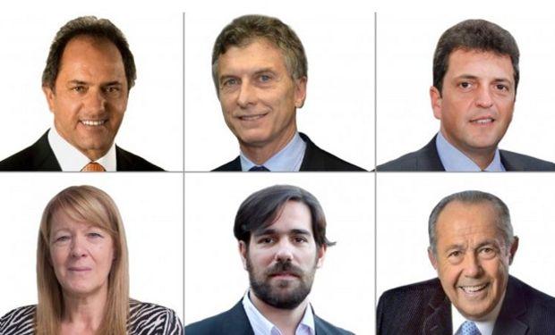 Seis candidatos y un sólo lugar: Daniel Scioli, Mauricio Macri, Sergio Massa, Margarita Stolbizder, Nicolás del Caño y Adolfo Rogrígez Saá.