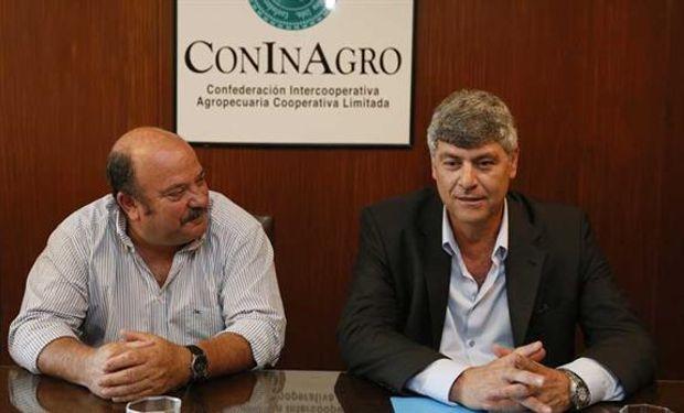 Egidio Mailland, presidente de Coninagro, recibió el miércoles pasado al designado ministro Ricardo Buryaile.Foto:Hernán Zenteno