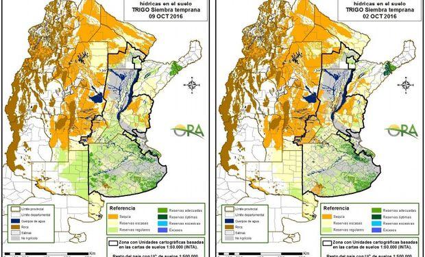 Reservas de Humedad al 9 y 2 de octubre, respectivamente.