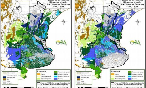 Estado de las reservas de humedad al 24 y 16 de octubre.