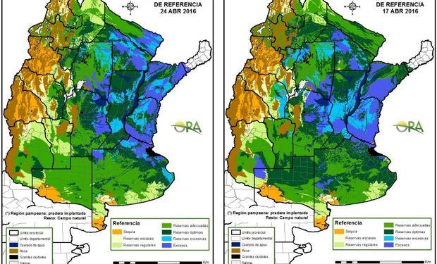 Estado de las reservas de humedad comparativamente al 24 y 17 de abril.