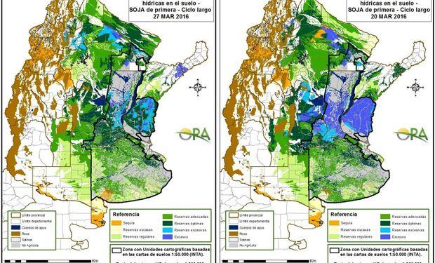Reservas de humedad comparativamente al 27 y 20 de marzo.