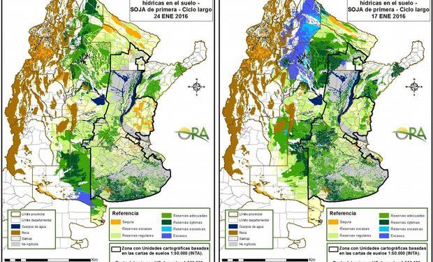 Estado de las Reservas de Humedad en lotes de soja de primera: al 24 de enero y 17 de enero.