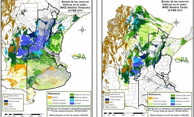 Estado de las Reservas de Humedad del suelo en maíz de siembra temprana y tardía al 24/02/2015. Fuente: ORA.