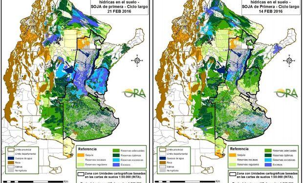 Estado de las Reservas de Humedad el 21 y 14 de febrero. Fuente: ORA.