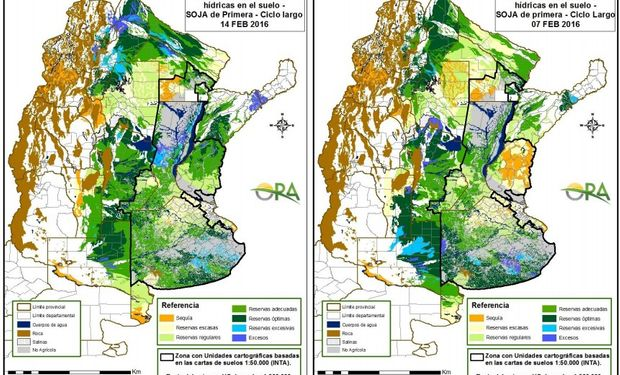 Reservas de humedad en soja de primera: 14 de febrero vs. 7 de febrero.
