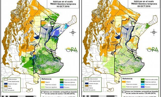 Reservas de humedad en trigo al 16 y 9 de octubre. Fuente: ORA.