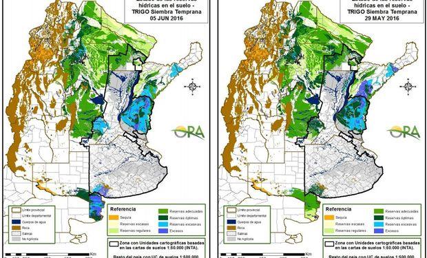 Reservas de humedad en trigo al 5 de junio y 29 de mayo, respectivamente.