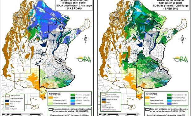 Reservas de humedad al 21 y 14 de abril respectivamente.