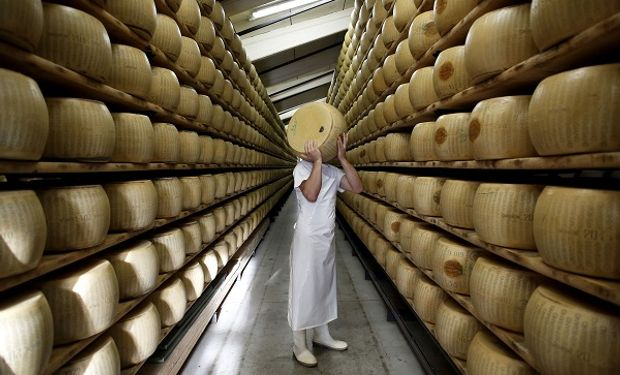 Estanterías de queso parmesano en Italia.