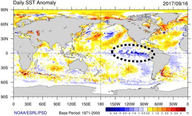Calentamientos y enfriamientos de la superficie del mar (Fuente: NOAA)