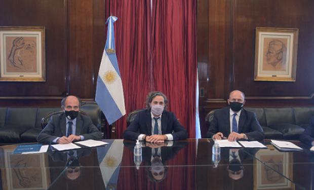 Cafiero, Perotti y Hecker, en la sede del Banco Nación.