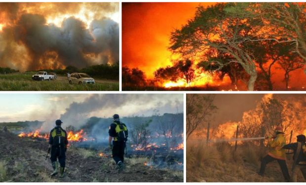 Imágenes sobre el drama de los incendios en La Pampa